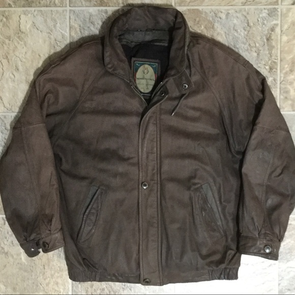 Members Only Other - Members Only Brown Bomber Jacket Leather Mens Sz M